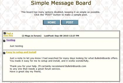 NonThreaded Message Board example